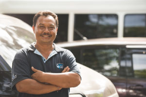 One of our drivers, Putu. Every day we rely on Putu and our other drivers to get everyone to and from their dives, safely and on time.