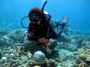 Instructor Ada diving in Bali