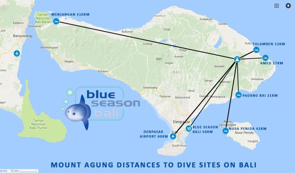 Bali Volcano - distances to dive sites