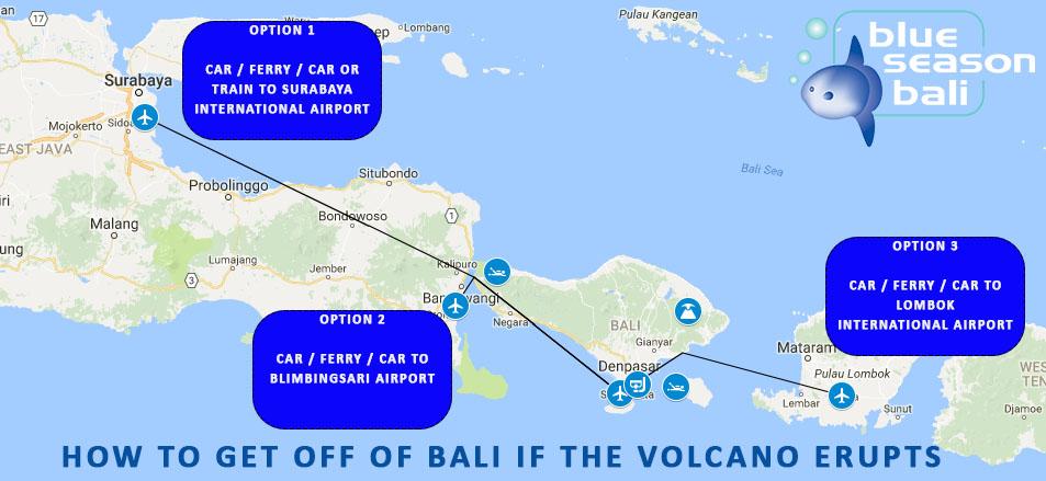 How to get off of Bali in case of eruption of Mount Agung